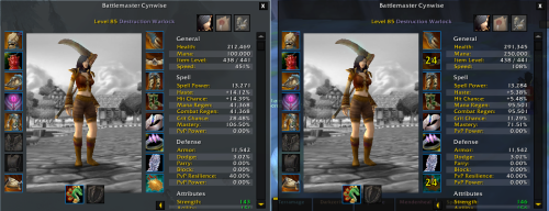 The 5.2 BG Scaling dramatically reduces secondary stats. Natural 85 on the left, scaled 85 on the right.
